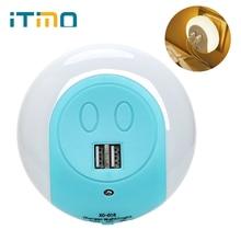 ITimo for Bedroom Bedside  EU/US Plug LED Night Light Mobile Phone Charger Light Sensor Decoration Lamp with 2 USB Port Socket