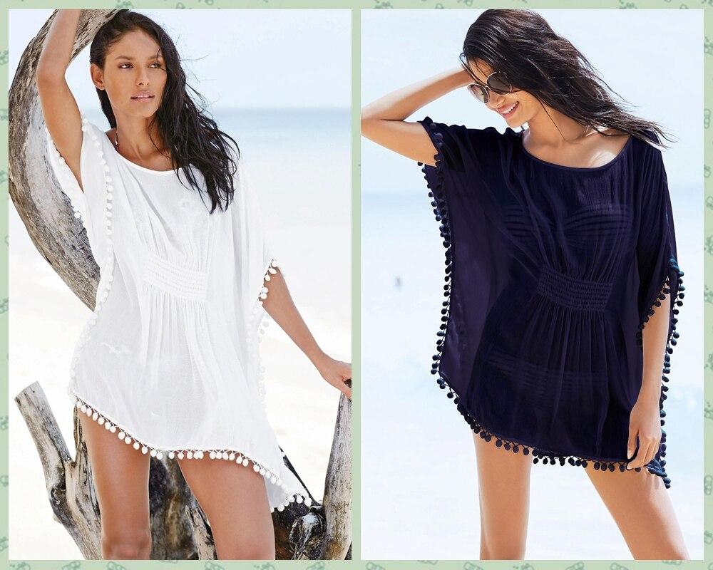 e1864a5468 Womens Swimwear Bikini Beach Kimono Cover Up Bat Sleeve Chiffon Kaftan  Summer Dress Pom Pom Trim Cinched Waist Poncho Beachwewar