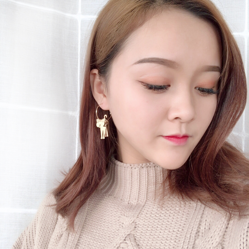 New cute cat animals geometric metal fashion beautiful girl cat ear ring earrings earrings eardrop of female