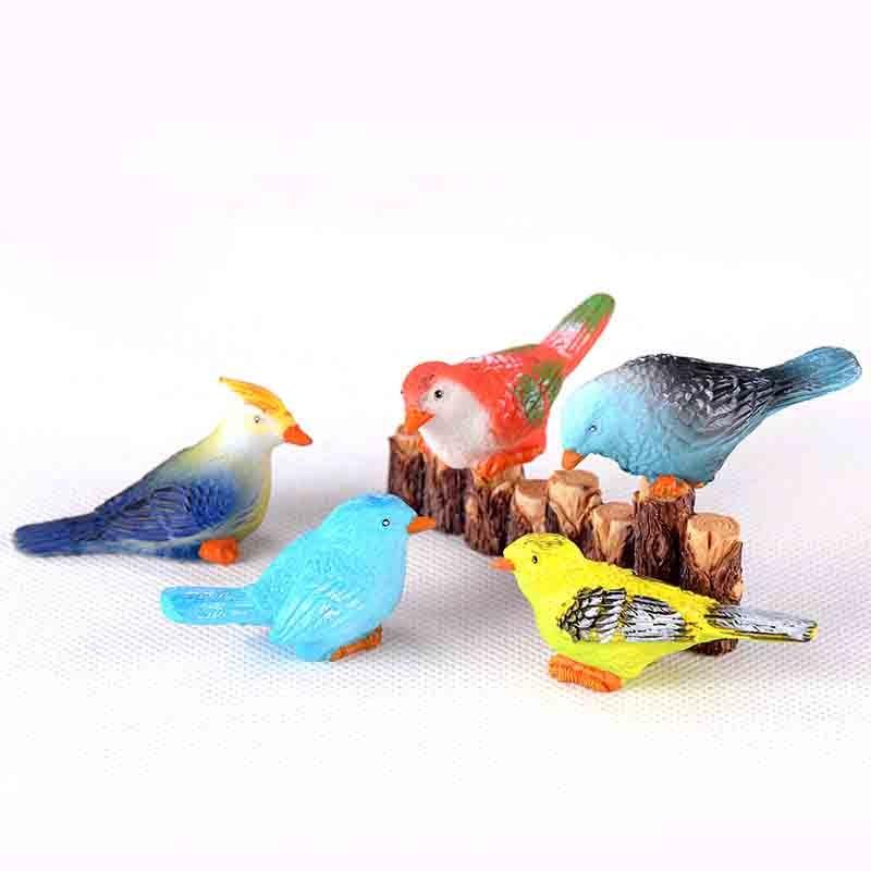 5 Pcs Creative Mini Resin Color Bird Micro Landscape Mini Resin DIY Decor Ornaments Crafts Fairy Garden Bonsai Home Decoration