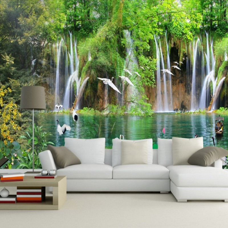 Customized Hd Nature Landscape Nice Rivers Mountains Egrets Living Room Background Wall Tv Decoration Mural Wallpaper