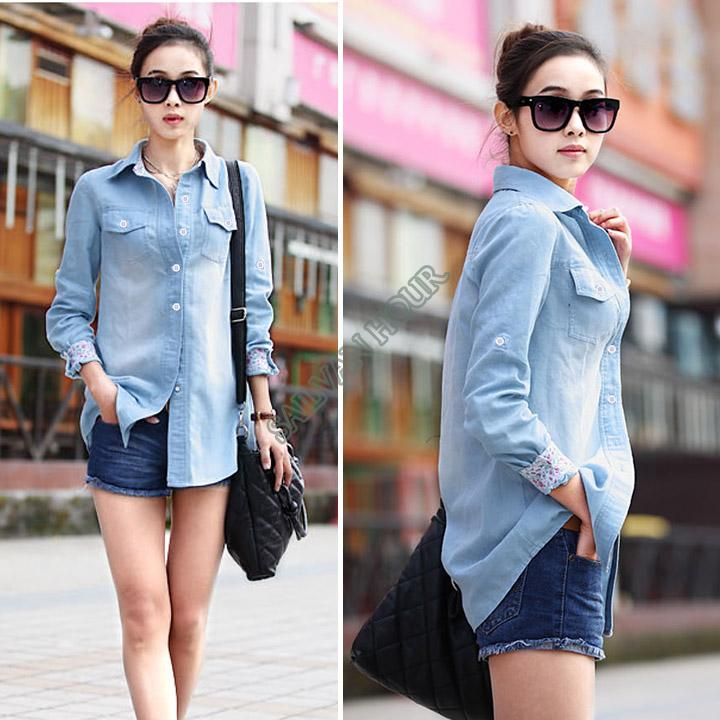 33805c4d8ea656 Free Shipping 2014 New Women Denim Shirt Long Sleeves Western Slim Denim  Blouse Casual Jeans Wear For Women #12 SV005390-in Blouses & Shirts from  Women's ...