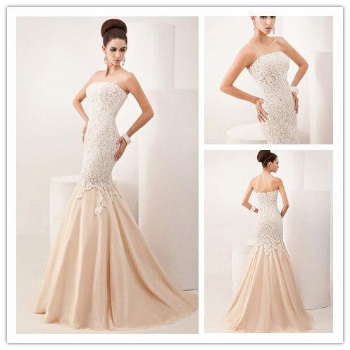 Strapless Lace Mermaid Champagne Colour Wedding Dress Chiffon Simple Vestido De Noiva Fashion 2015 Bridal Gowns