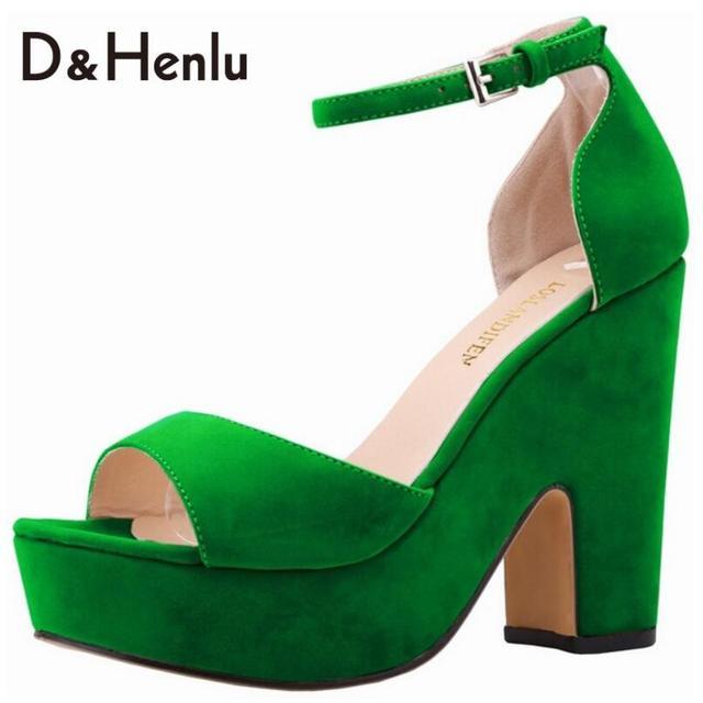 {D & H} Sapatos Mulher com Tira No Tornozelo Sandálias de Salto Alto Mulheres Sandálias da Plataforma do Salto Grosso Sapatos de Vegetação Verde sandalia feminina