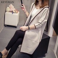 Plus Size Women Knitting Sweaters Tops Hooded Long Thicken Pocket Cardigan 2018 Spring Autumn Women Casual Knitted Sweater Coats