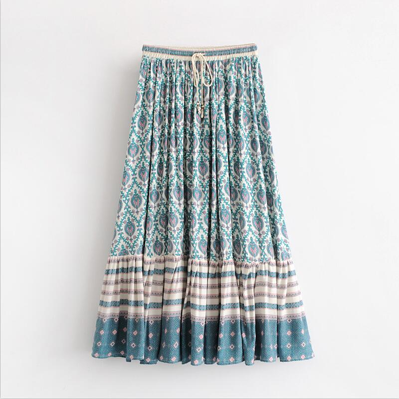 386faab037dde US $16.3 37% OFF|Boho floral print women beach Tutu skirt 2018 Summer high  waist Bohemia casual Midi skirts Lace up Femme Clothing Z620-in Skirts from  ...