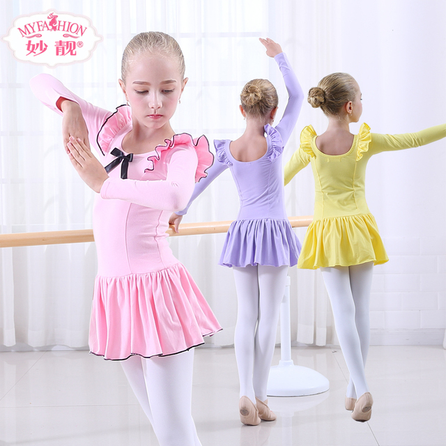 55365724012c Kid Girls Long Sleeve Ballet Dance Dress Children Girl Ballet ...