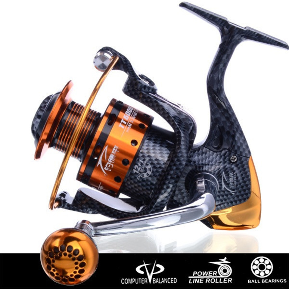 Salzwasser Neue Ankunft Metall Spinning Angelrolle Coil carretilha pesca 6000 Serie 12 + 1BB 5,1: 1 molinete pesca rad China