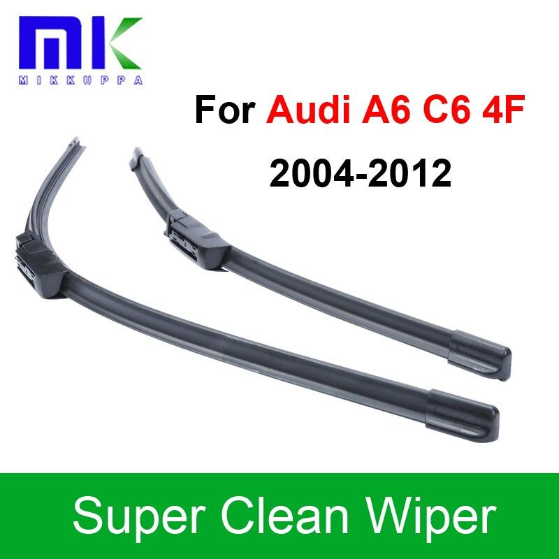 Silicone Rubber Wiper Blades For Audi A6 C6 4F 2004 2005 2006 2007 2008 2009 2010 2011 2012 Windshield Wiper Auto Accessories