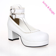 Lolita Double Ankle Straps Sweet Lace Trim Chunky Heel Platform Pumps Maid Cosplay White Leather Shoes