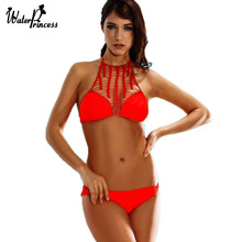 New Sexy High Neck Bandage Swimwear women Cut Out Swimsuit Weave Retro Halter Bikini Set Brazilian Summer Beach Suit S1618