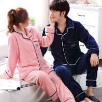 lingerie flannel pajamas women winter thick three layer warm home suits 2 pieces set for Couple sleepwear pink pijama unicornio