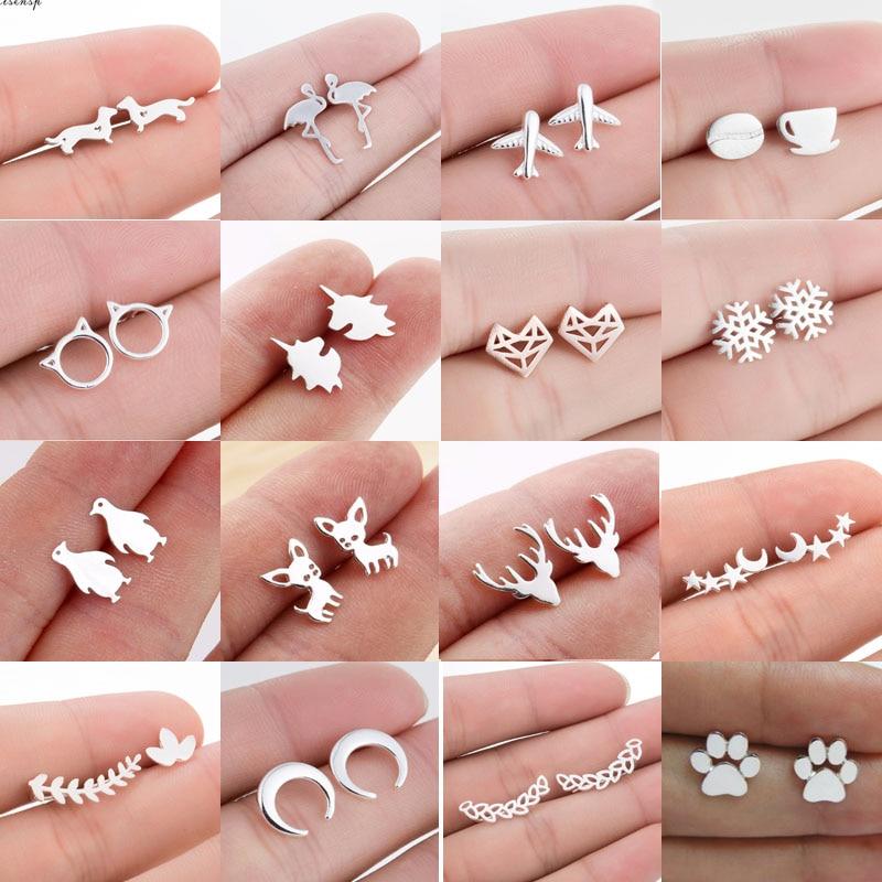 Jisensp Variety of Stylish Mini Cat Deer Animal Stud Earrings for Women Geometric Earrings Minimalist Jewelry Accessories brinco