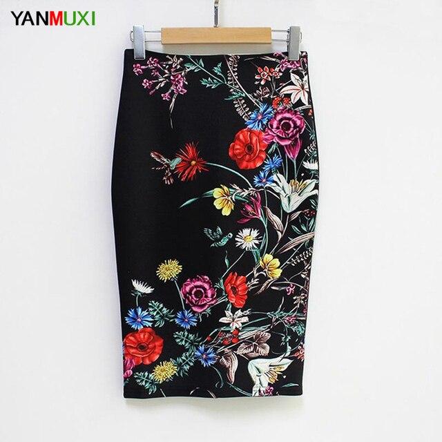 2017 Для женщин Юбки для женщин замшевые цветы черная юбка-карандаш женский печати Высокая Талия Bodycon Винтаж замши Разделение офис эластичный Юбки для женщин