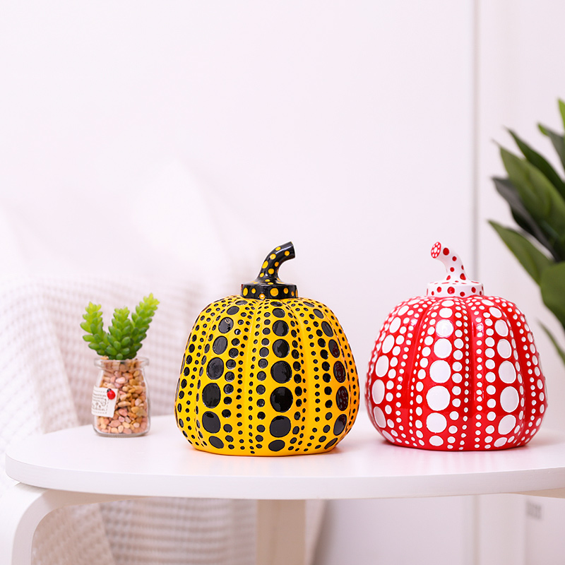 Kusama Yayoi Pumpkin Japanese Artist Modern Sculpture Polka Dot Art  Home Interior Decorations Office Arts Wedding Christmas