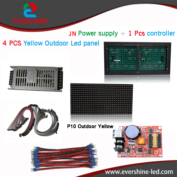 все цены на DIY kits P10 outdoor single yellow LED Panel 4 pcs+1 Pcs led controller+1 Pcs JN power supply,led display screen all cables онлайн