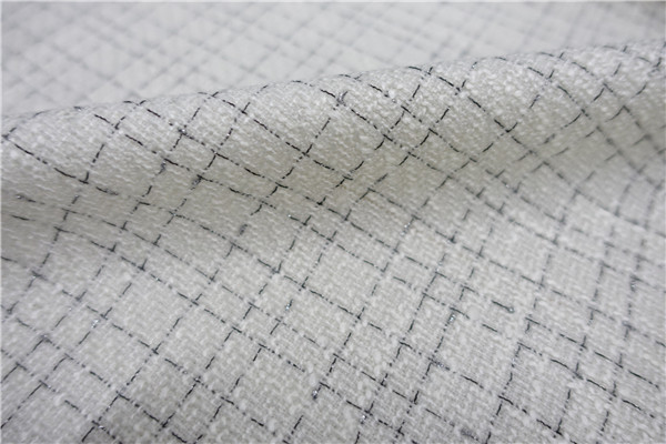 Free ship fabric milk white and black check weaved with shining line price for 1 meter 59