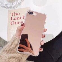 30 unidades/pacote caixa do telefone para o iphone xr espelho casos tpu macio capa para o iphone 6s 7 8 plus x xs max à prova de choque funda + filme macio