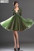 Бесплатная доставка прекрасный по колено одежда с длинным рукавом оливковый Кружево лиф коктейльное платье