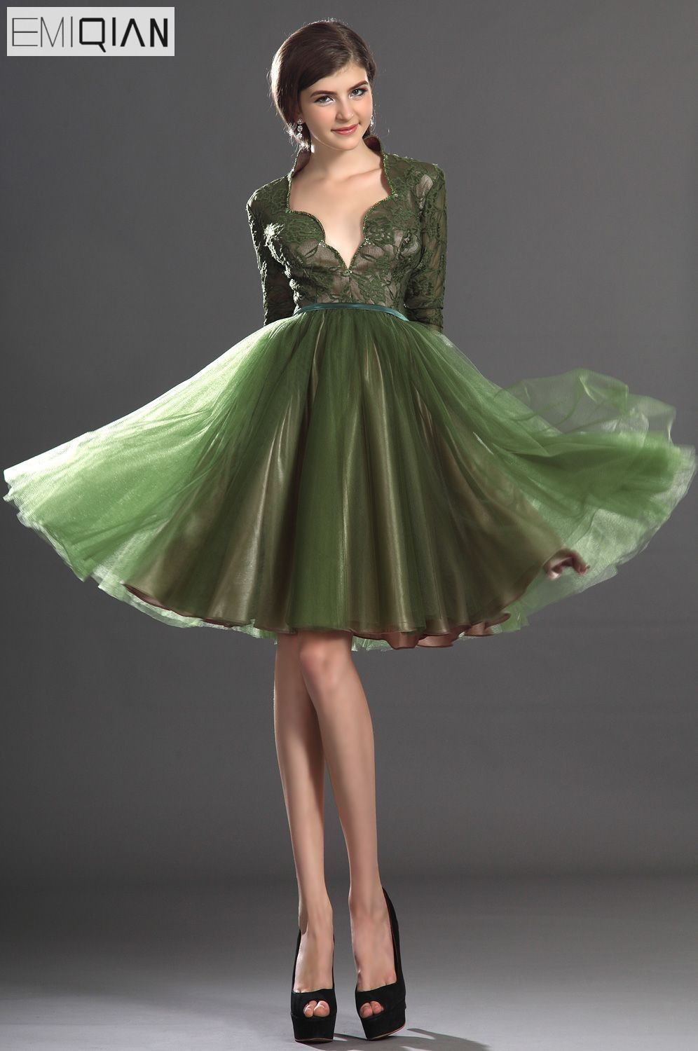 Free shipping Lovely Knee Length Long Sleeves Olive Lace Bodice Cocktail Dress