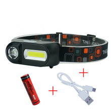 Headlight USB Mini 3 Modes Waterproof Led Headlamp Cob Flashlights Rechargeable Waterproof Head Flashlight 18650 Headtorch