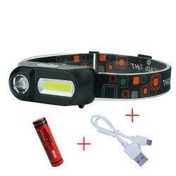 Headlight USB Mini 3 Modes Waterproof Led Headlamp Cob Flashlights Rechargeable Waterproof Head Flashlight 18650 Headtorch