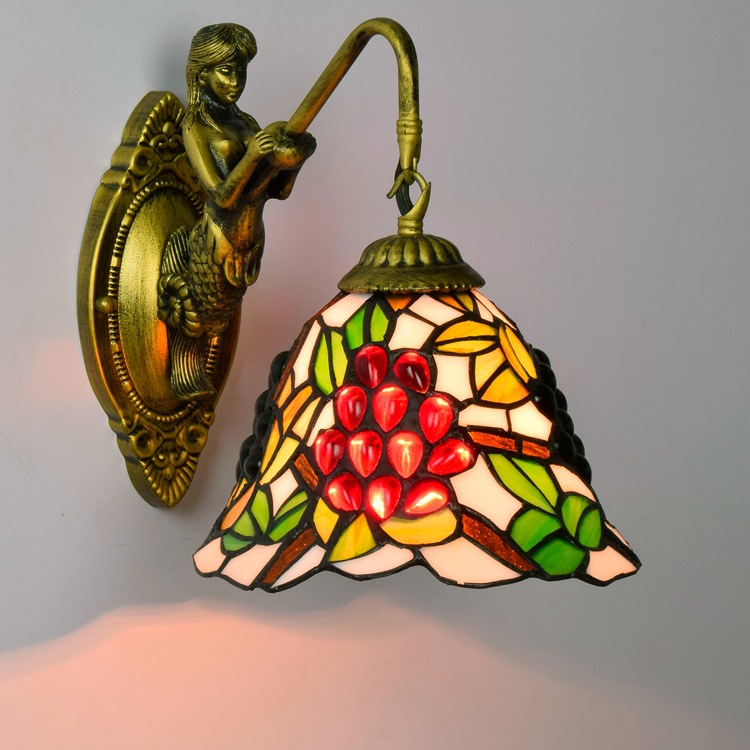French garden Tiffany grape stained glass  decorative wall lamp bar KTV Club Hotel corridors beauty lamp ce emc lvd fcc ozone generator for water treatment