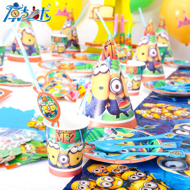 116 Lot 12 Menschen Neue Kinder Birthday Party Decoration Set Geburtstag Minions Theme Supplies