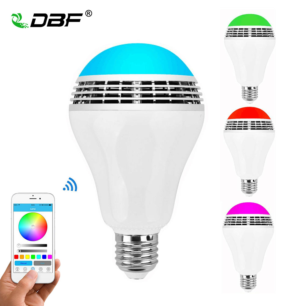 [DBF]Smart LED Light Bulb & Bluetooth Speaker APP Control Group Bulbs RGB Multi-Color Changing Dimmable Works with iOS Android