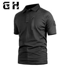 Dropshipping Summer Military T-shirt Quick Dry Undershirt Pullover T-Shirt Men's Tactical Army Short Sleeve Live CS With Pocket(China)