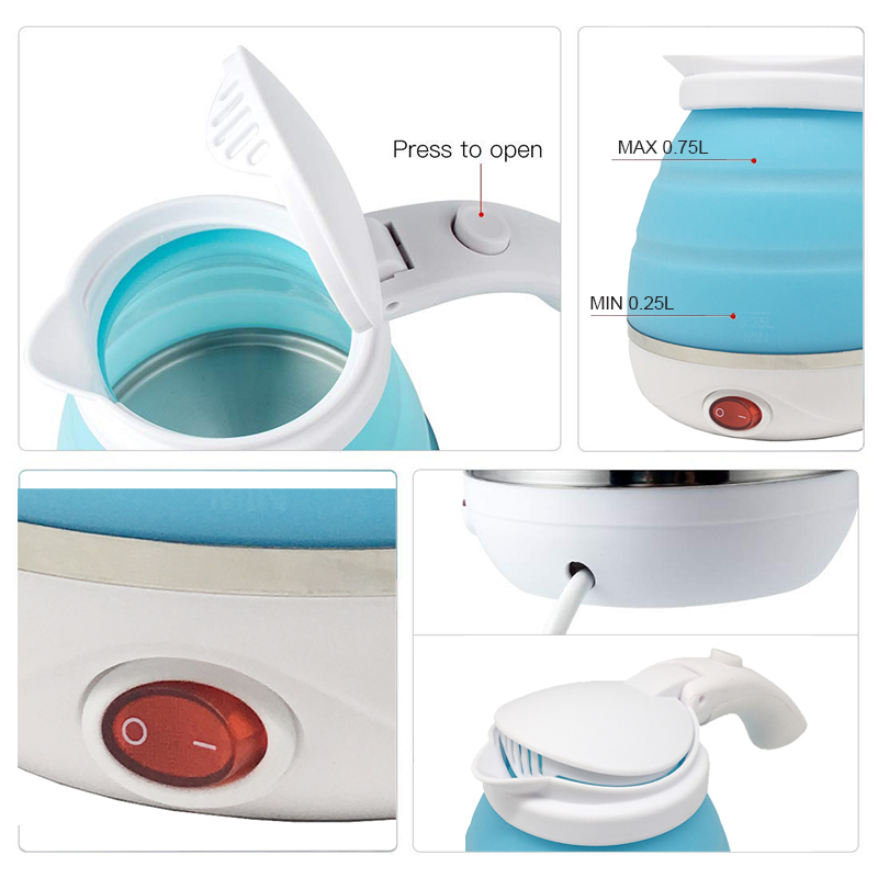 Travel Foldable Electric Kettle- Portable Silicone Collapsible Camping Kettle 100-240V 750ML(Blue) Boil Dry Protection (3)