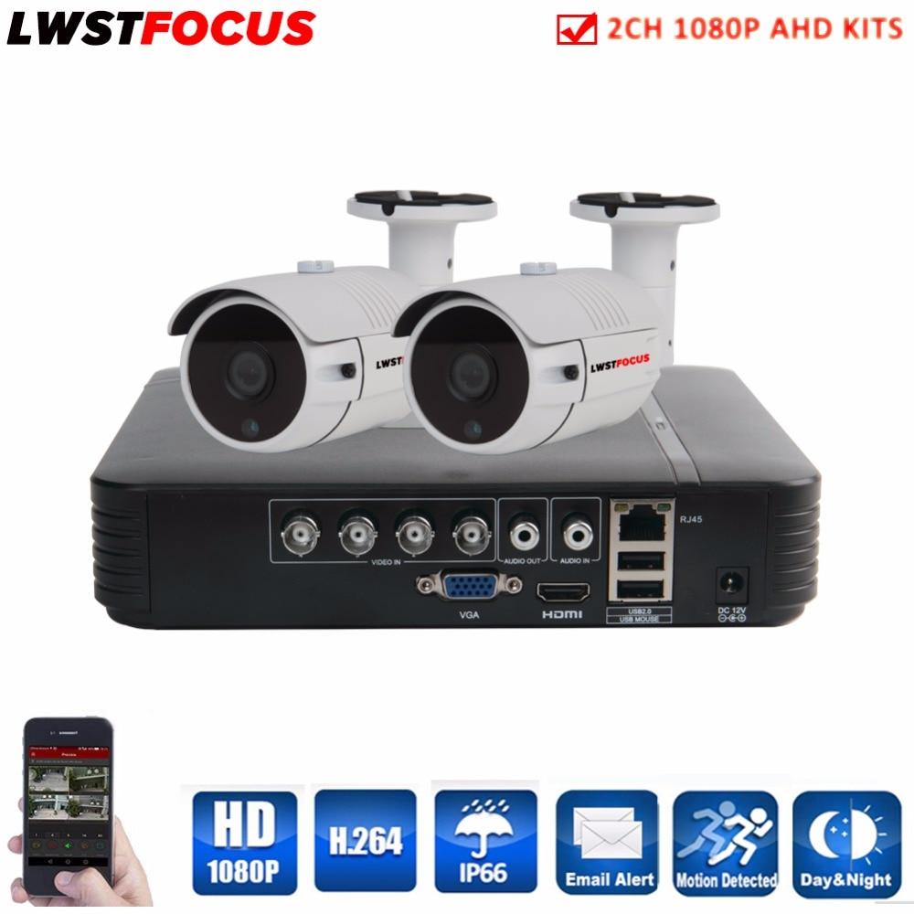 2CH CCTV AHD System Kit 1080N HDMI AHD-H DVR 1080P AHD Camera IR Outdoor Security Camera System 3000 TVL Camera Surveillance Kit