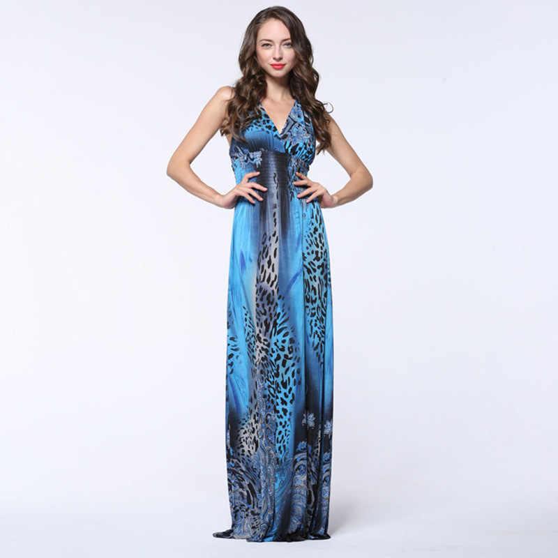4edd7eb9f85 Robe longue femme ete 2018 Women Summer Dress V Neck Sleeveless Sexy Open  Back Leopard Dress