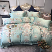 Green Pink Blue Luxury Bohemia Style Printing 60S Egyptian cotton Bedding Set Duvet Cover Bed sheet Bed Linen Pillowcases 4pcs