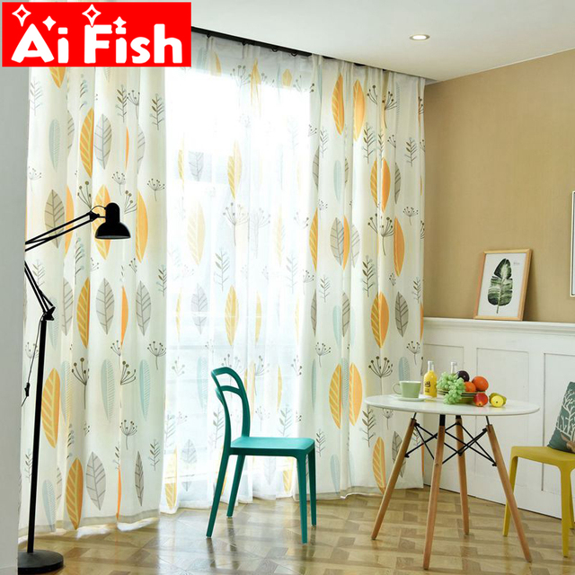 Simple Nordic Plant Blue Personality Window Valance Curtain For Living Room American Yellow Leaves Fabric