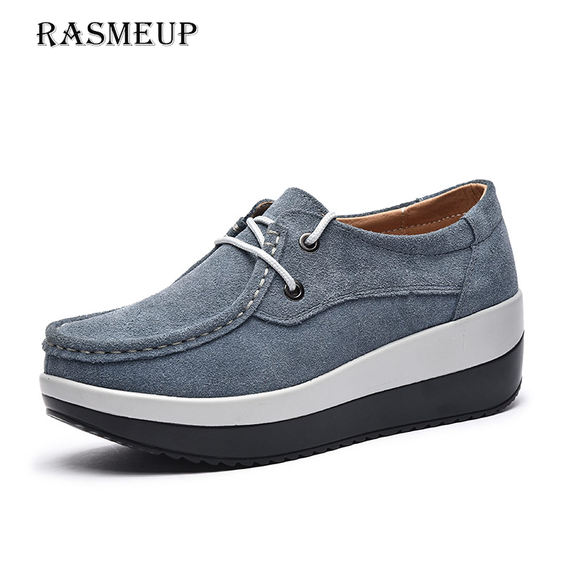 RASMEUP Genuine Suede Leather Platform Sneakers Women 2018 Autumn Women's Lace Up Flats Woman Casual Creepers Moccasins Shoes rasmeup genuine suede leather women s oxford shoes 2018 spring women lace up flat sneakers woman boat flats moccasins shoes