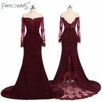 С открытыми плечами бордовый Подружкам невесты Одежда с длинным рукавом Vestidos Largos бисером Русалка Наряды на свадебную вечеринку Кружево пла