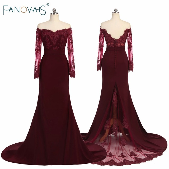 Off Shoulder Burgundy Bridesmaid Dresses Long Sleeves Vestidos Largos Beaded Mermaid Wedding Party Dress Lace