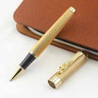 Jinhao 1200 luxo metal dragão caneta canetas clipe de ouro preto caneta recarga negócio executivo rápida escrita rolo bola caneta presente caixa