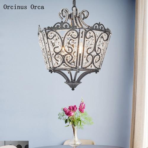 American Luxury Creative Crystal Crown Chandelier Living Room Corridor Bedroom European Gold LED Crystal Chandelier