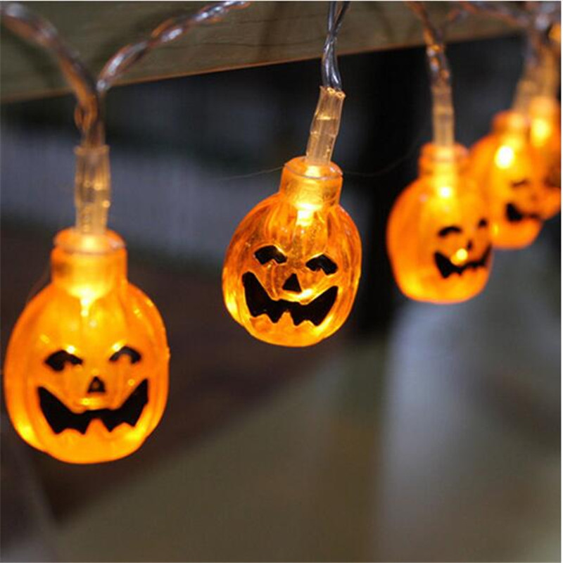 aliexpresscom buy 15m led string light halloween decor 10 heads pumpkin skull light strip waterproof outdoor lanterns with plug or battery case from - Halloween Outdoor Lights