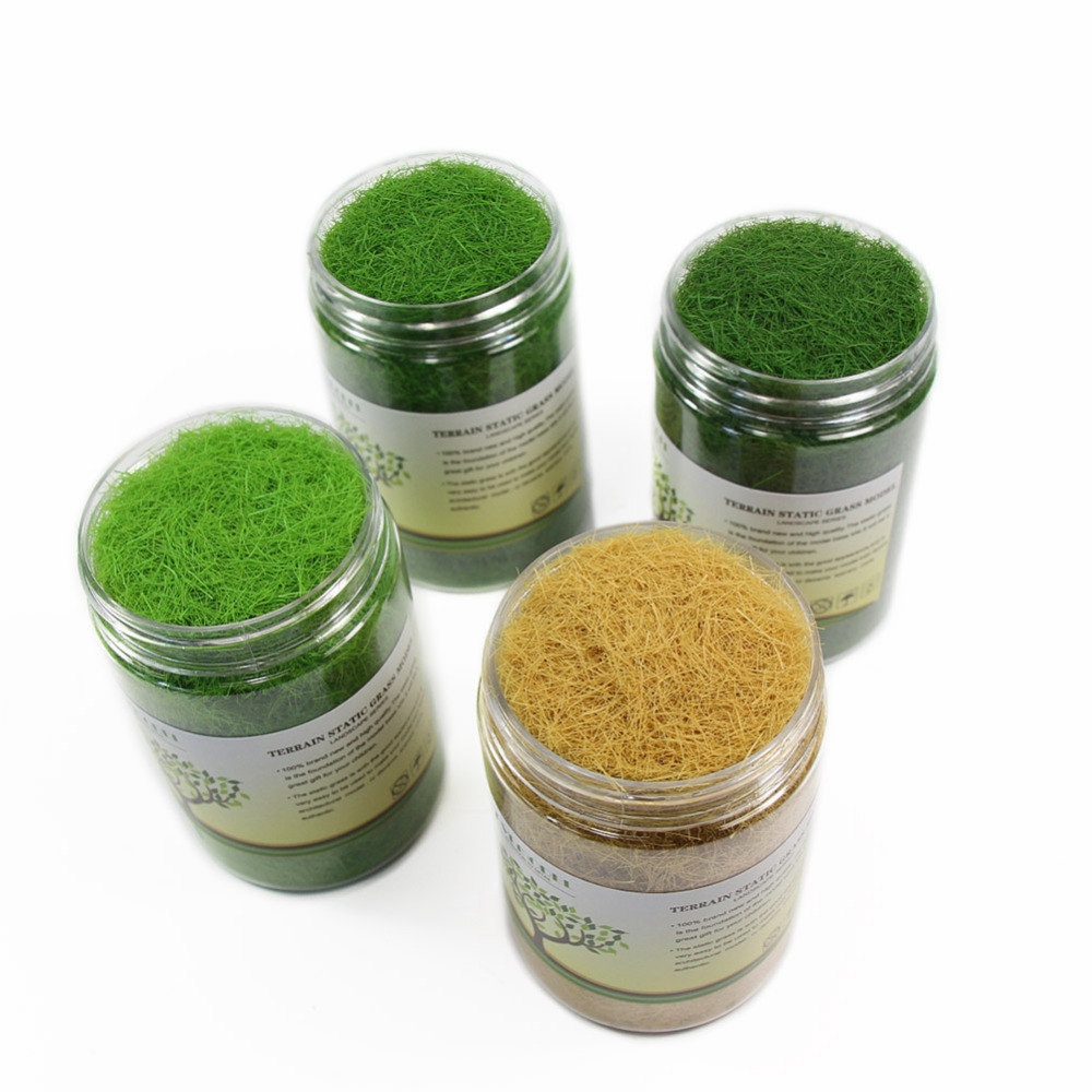 4 bottles 35g 8mm Static Grass Powder Grass Flock Fibre for Grass Mat Model Railway Layout CFA7