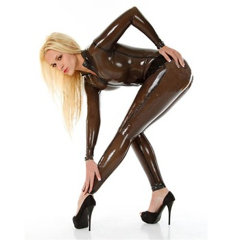 Sexy Woman Transparent Brown Latex Full Body Tights Latex Catsuit Bodysuit Leotard