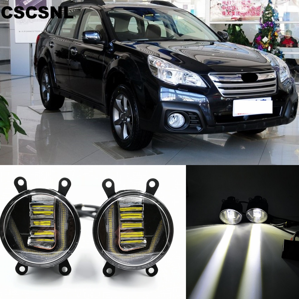 3-IN-1 Functions Auto LED DRL Daytime Running Light Car Projector Fog Lamp With Yellow Signal For Subaru Outback 2013-2016