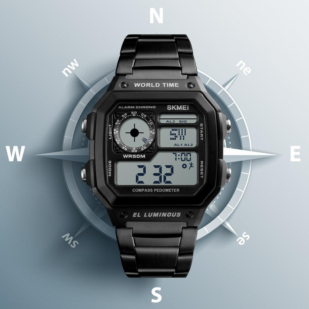 SKMEI sports de plein air montre hommes boussole calories podomètre 5Bar étanche montres bracelet en acier inoxydable montre numérique reloj hombre 1382