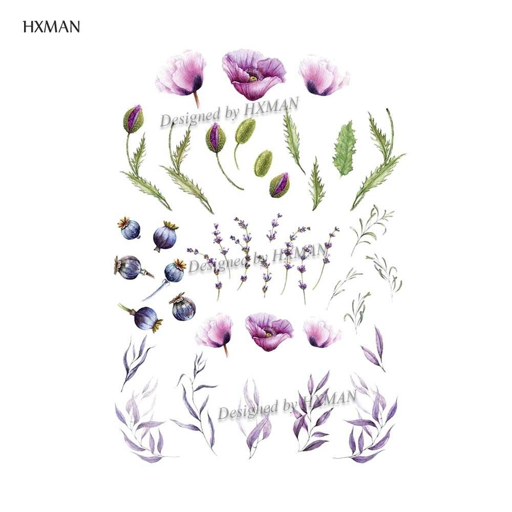 HXMAN Flower Temporary Tattoo Sticker Waterproof Fashion Women Arm Face Fake Body Art 9.8X6cm Kids Adult Hand Tatoo P-054