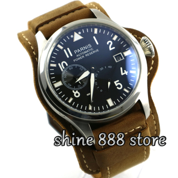 Parnis watch 47mm parnis black dial luminous power reserve date adjust automatic mens watch