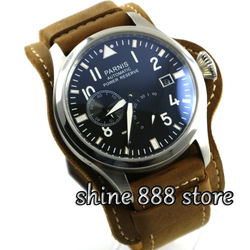 Zegarek Parnis 47mm czarna tarcza Parnis luminous rezerwy mocy data dostosować automatyczny męski zegarek