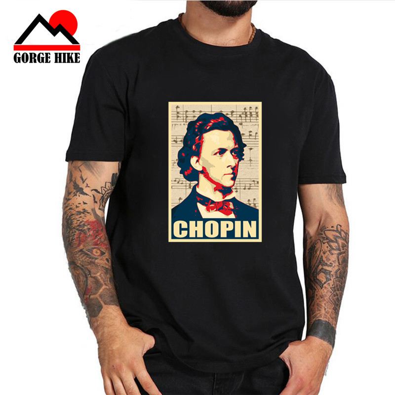 3D Polish piano composer Chopin T shirt Poland fans Piano poet musician symbol Short Sleeves Vintage genius portrait Tees Shirts image