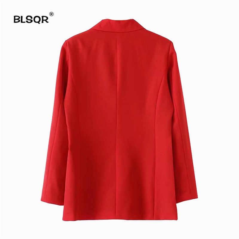 Blsqr feminino terno vermelho blazer 2018 primavera moda jaqueta de bolso duplo breasted blazers jaquetas trabalho escritório negócio terno
